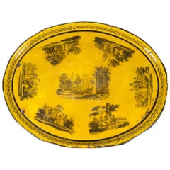 Late 19th Century Hand Painted Yellow Tole Tray
