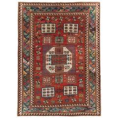 Late 19th Century Handmade Caucasian Kazak Accent Rug