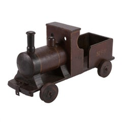 Late 19th Century Handmade Painted Wood Toy Train