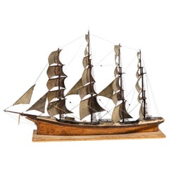 Late 19th Century Handmade Wooden Ship Model from France