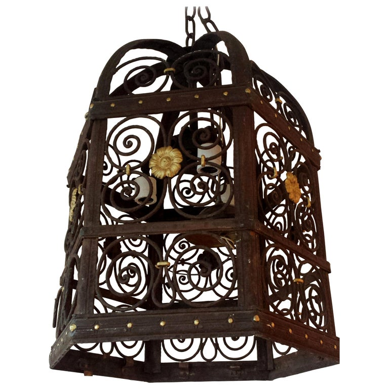 19th Century Wrought Iron Hexagon Lantern Chandelier For Sale
