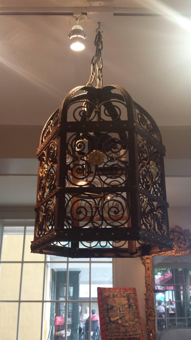 Baroque 19th Century Wrought Iron Hexagon Lantern Chandelier For Sale