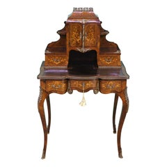 Late 19th Century Inlaid Kingwood Bonheur Du Jour