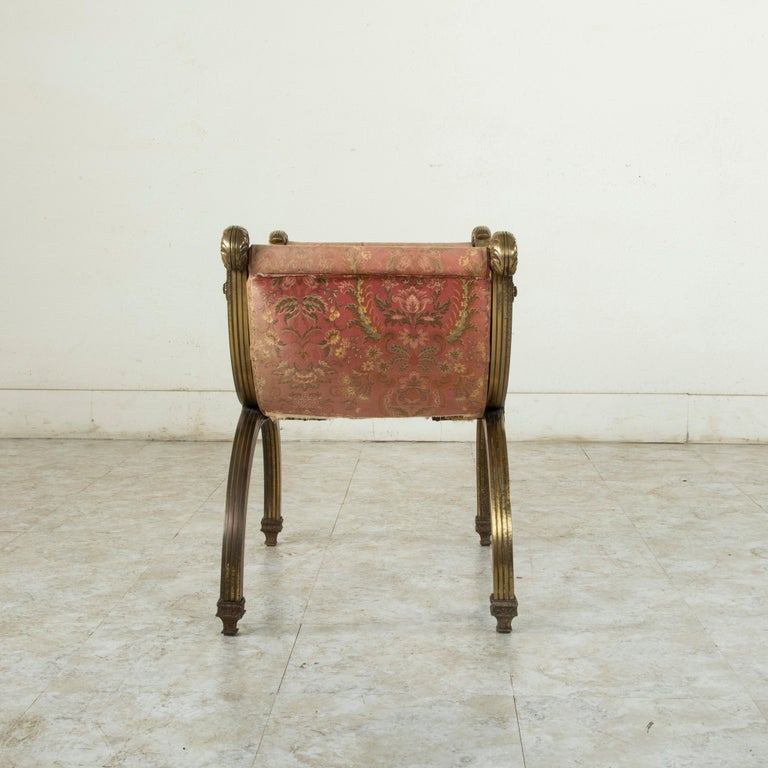 Late 19th Century Italian Baroque Bronze Dagobert Bench, Banquette, or Stool For Sale 1