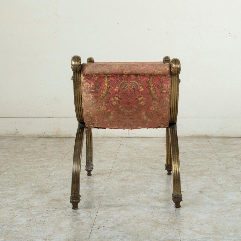 Late 19th Century Italian Baroque Bronze Dagobert Bench, Banquette, or Stool For Sale 3
