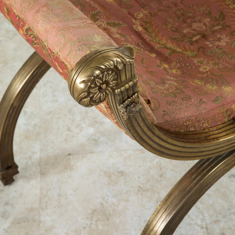 Late 19th Century Italian Baroque Bronze Dagobert Bench, Banquette, or Stool For Sale 4