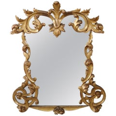 Late 19th Century Italian Baroque Style Carved Gilded Wood Wall Mirror