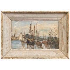 Late 19th Century Italian Boat Oil Painting in Painted Frame Signed L. Bolleri