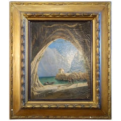 Late 19th Century Italian Cave on Lake with Figures Framed & Signed Oil Painting