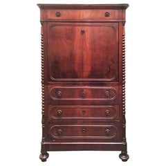 Late 19th Century Italian Louis Philippe Writing Cabinet in Solid Walnut Wood