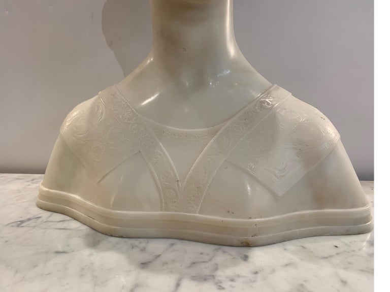 Late 19th Century Italian Marble Bust of a Young Maiden Woman, Pre-Ralphaelite For Sale 8