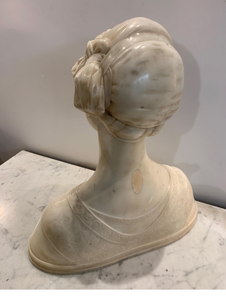 Late 19th Century Italian Marble Bust of a Young Maiden Woman, Pre-Ralphaelite For Sale 6