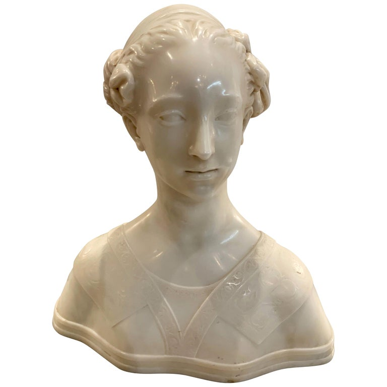 Late 19th Century Italian Marble Bust of a Young Maiden Woman, Pre-Ralphaelite For Sale