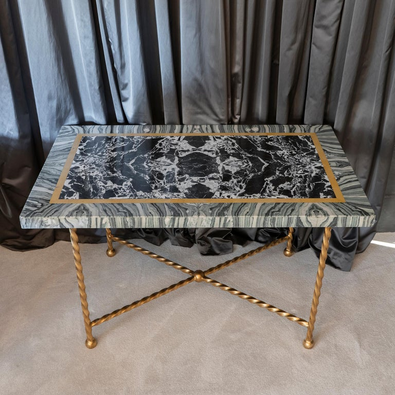Gilt Late 19th Century Italian Marble Polychrome and Gilded Steel Base Desk/Console For Sale