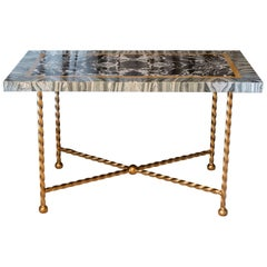 Late 19th Century Italian Marble Polychrome and Gilded Steel Base Desk/Console