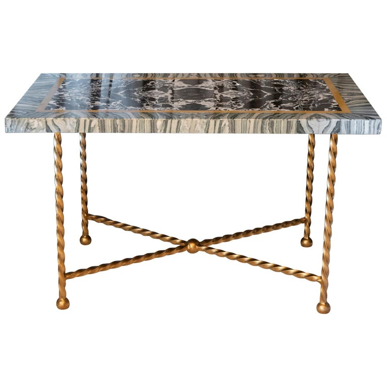 Late 19th Century Italian Marble Polychrome and Gilded Steel Base Desk/Console For Sale