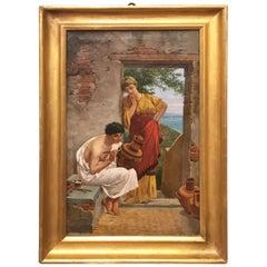 Ende des 19. Jahrhunderts Italienisches Öl auf Leinwand Gemälde Griechischer Handwerker