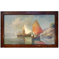 Late 19th Century Italian Oil Painting Sailboats on a Lake, Signed, circa 1890