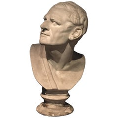 Late 19th Century Italian Plaster Bust after an Antique Model, Depicting a Man