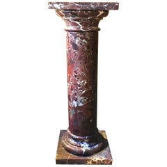 Late 19th Century Italian Red Marble Column with Square Plinth and Top Plate