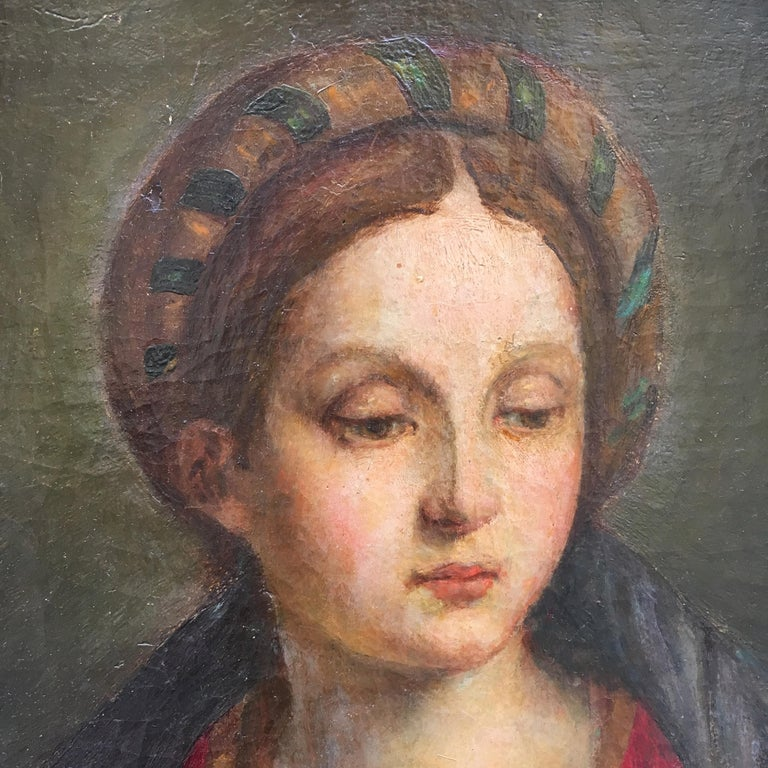 Hand-Painted Late 19th Century Italian Renaissance Oil on Canvas Painting