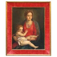 "Late 19th Century Italian Renaissance Oil on Canvas Painting ""Virgin and Child"""