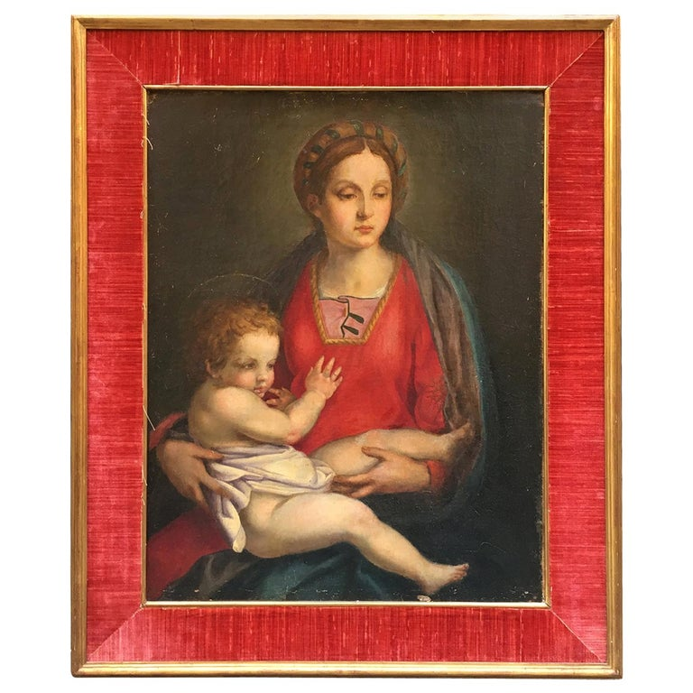 "Late 19th Century Italian Renaissance Oil on Canvas Painting ""Virgin and Child"" For Sale"