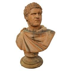19th Century Italian Renaissance Style Old Impruneta Terracotta Bust of Emperor