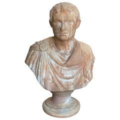 Late 19th Century Italian Renaissance Style Terracotta Caesar Augustus Bust