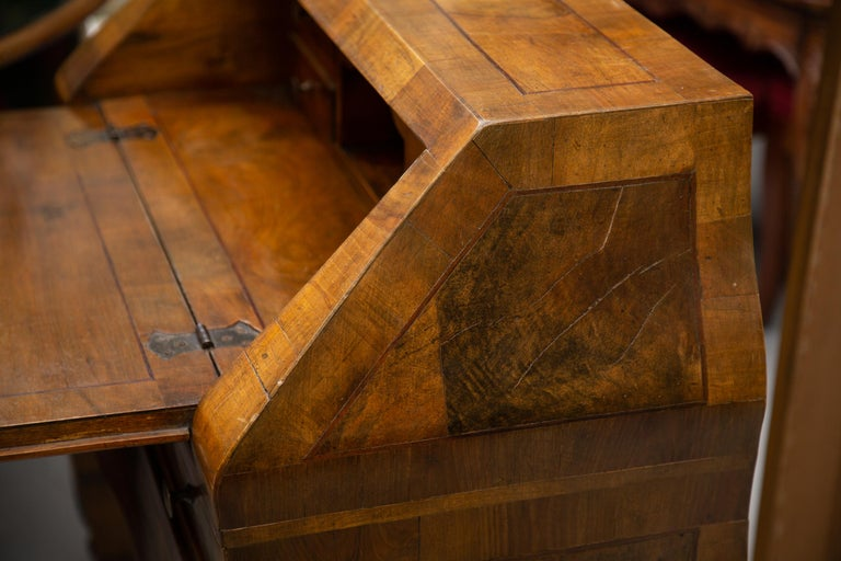 Late 19th Century Italian Walnut Drop Front Desk In Good Condition For Sale In WEST PALM BEACH, FL