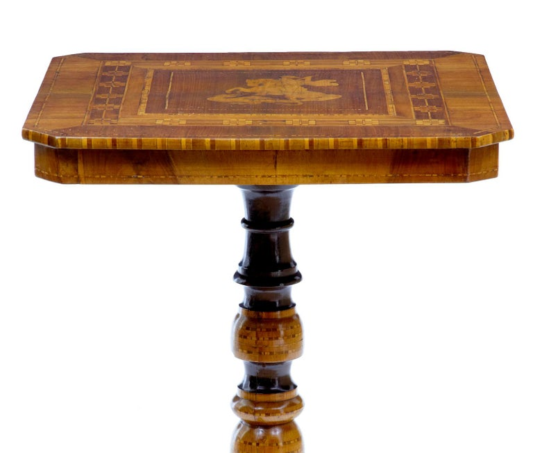 Inlay Late 19th Century Italian Walnut Sorrento Occasional Table For Sale