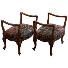 Late 19th Century Italian Walnut Stools African Woven Upholstery