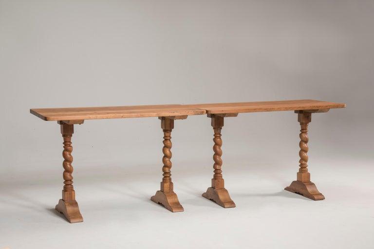 Late 19th Century Italian Walnut Wood Spool Legs Table Console For Sale 1