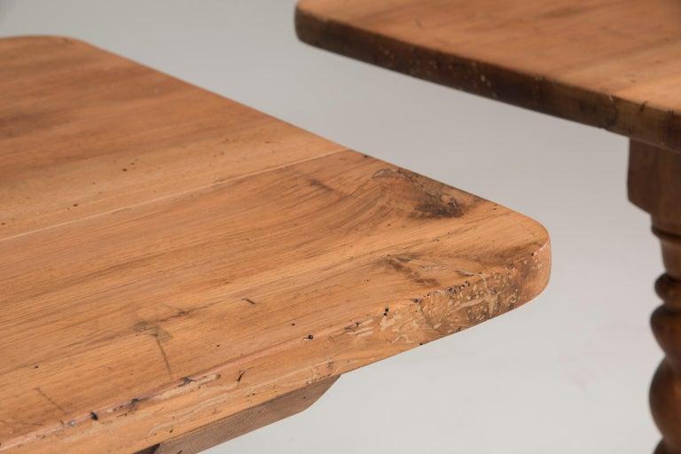 Late 19th Century Italian Walnut Wood Spool Legs Table Console For Sale 3