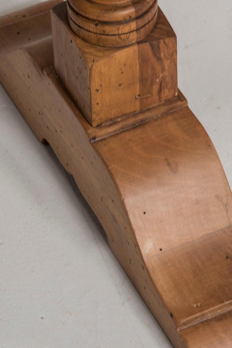 Late 19th Century Italian Walnut Wood Spool Legs Table Console For Sale 5