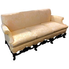 Late 19th Century Jacobean Style Hand Carved Walnut Sofa