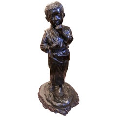 Late 19th Century Japanese Bronze of a Boy in a Kimono on a Naturalistic Base