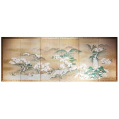 Late 19th Century, Japanese Folding Screen, Cherry Blossom Design, Edo Period