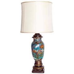Late 19th Century Japanese Meiji Cloisonne Vase as Custom Lamp