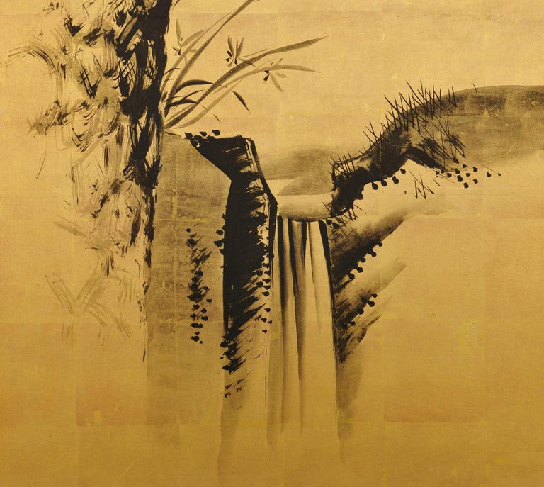 Late 19th Century Japanese Pine Screens, Ink on Gold, by Suzuki Shonen For Sale 6