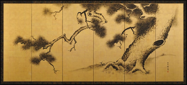 Meiji Late 19th Century Japanese Pine Screens, Ink on Gold, by Suzuki Shonen For Sale