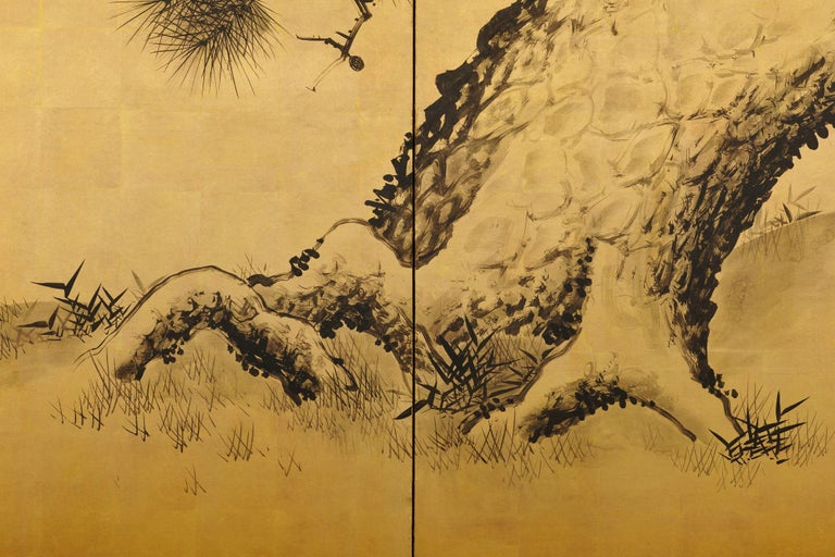 Late 19th Century Japanese Pine Screens, Ink on Gold, by Suzuki Shonen In Good Condition For Sale In Kyoto, JP