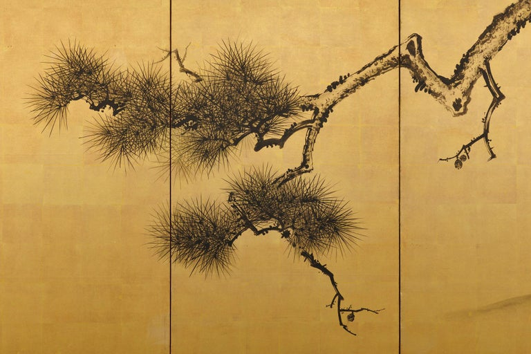 Late 19th Century Japanese Pine Screens, Ink on Gold, by Suzuki Shonen For Sale 1