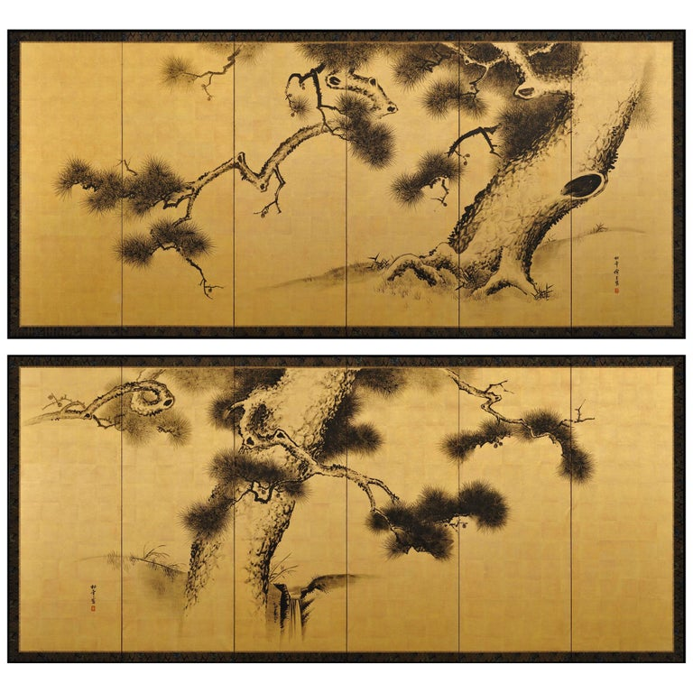 Late 19th Century Japanese Pine Screens, Ink on Gold, by Suzuki Shonen For Sale