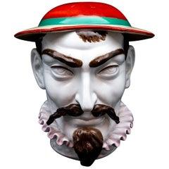 Late 19th Century J.B. Cappellemans Large Don Quixote Ceramic Tobacco Jar