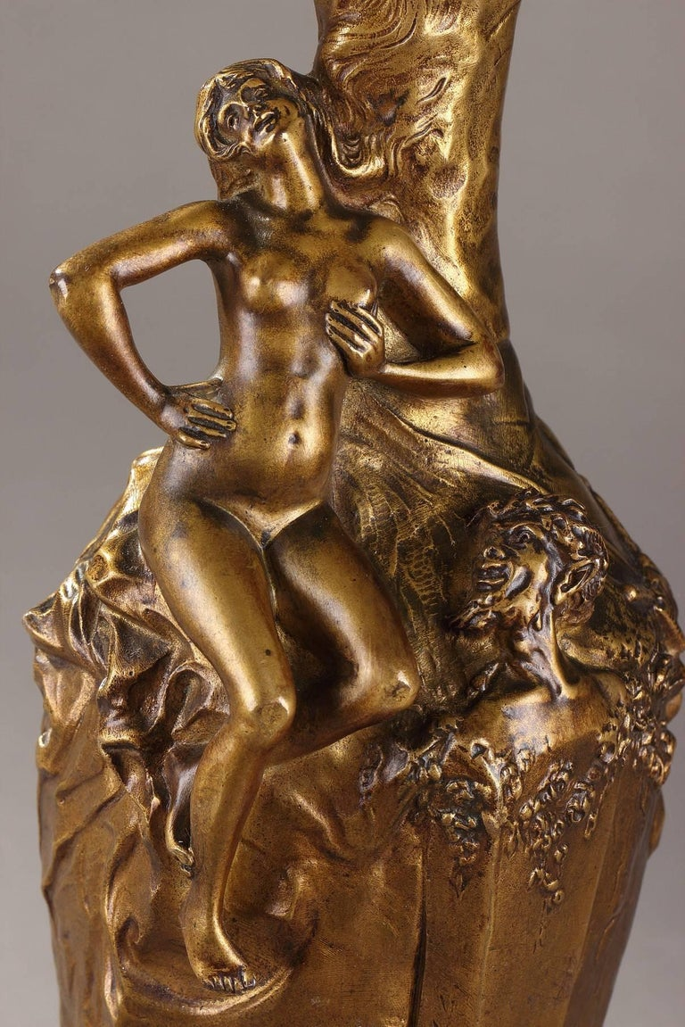 Art Nouveau Late 19th Century Jules Meliodon Bronze-Mounted Vase, Louchet Foundry For Sale