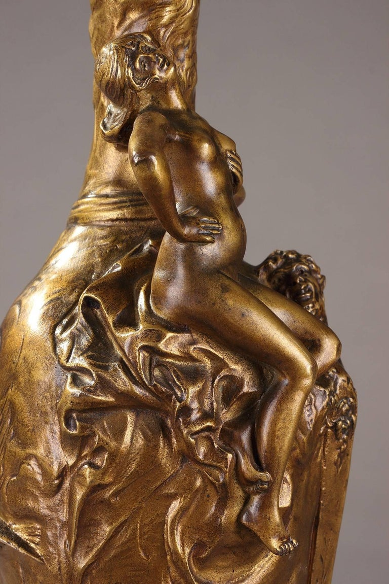 French Late 19th Century Jules Meliodon Bronze-Mounted Vase, Louchet Foundry For Sale