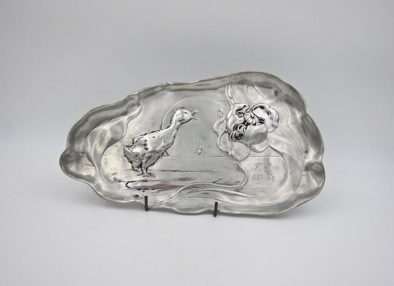German Late 19th Century Kayserzinn Jugendstil Tray with Duckling For Sale