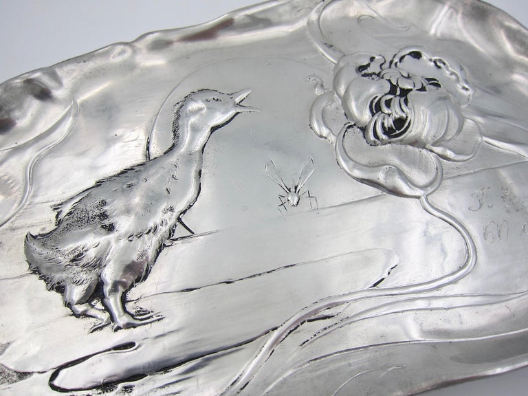Late 19th Century Kayserzinn Jugendstil Tray with Duckling In Good Condition For Sale In Los Angeles, CA