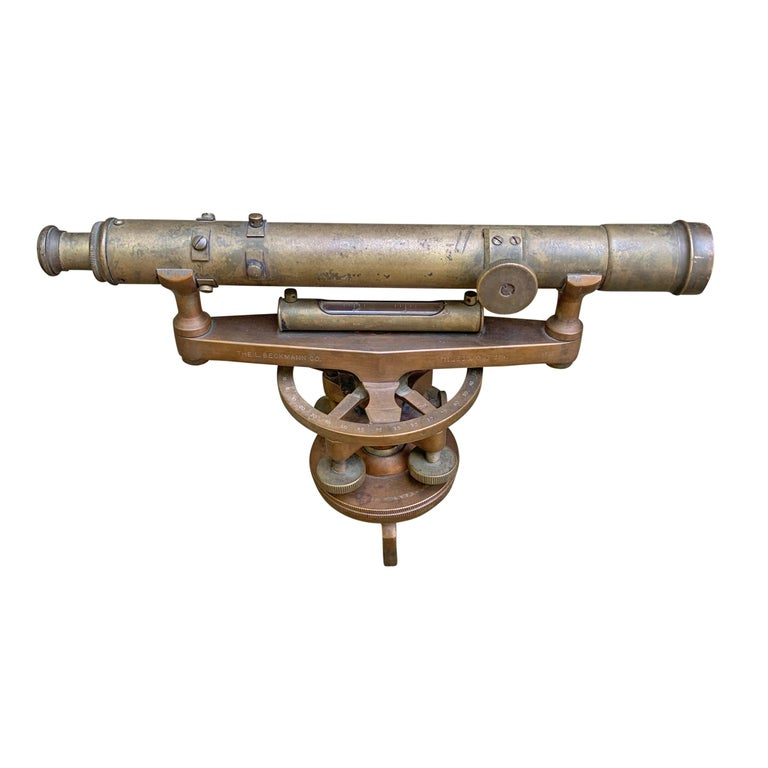 A late 19th century bronze surveyor's sextant manufactured by the L. Beckmann Co. of Toledo Ohio (1874-1951). The scope is not functioning, but all other parts are.